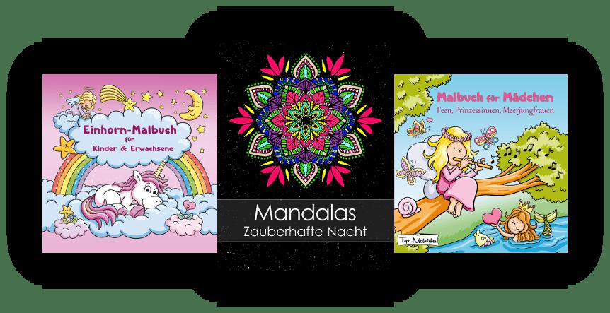 Malbücher für Erwachsene und Kinder - Mandala mit schwarzem Hintergrund - Einhorn Malbuch - Feen Prinzessinnen Meerjungfrauen Malbuch