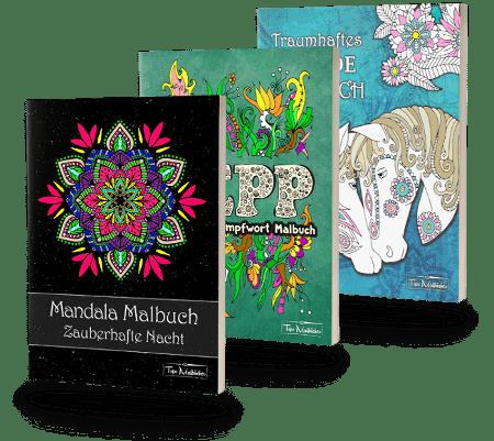 Malbuch für Erwachsene - Mandalas, Schimpfwortmalbuch, Pferde Malbuch