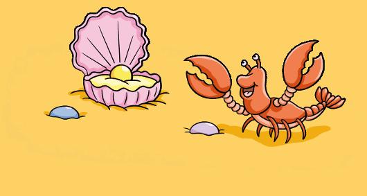 Malbuch für Kinder und Erwachsene Muschel mit Perle und Hummer auf Sand
