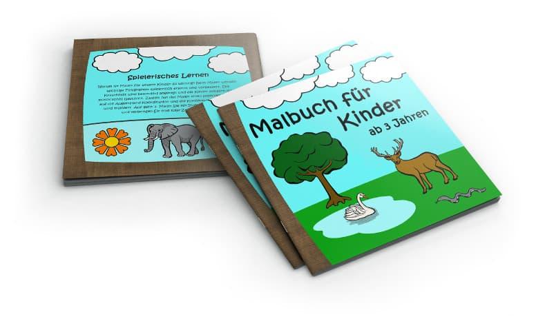 Malbuch für Kinde ab 3 Jahren Cover mit Rücken