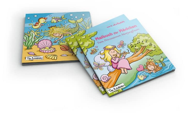 Malbuch für Mädchen Fenn, Prinzessinnen, Meerjungfrauen, Einhörner Cover mit Rücken