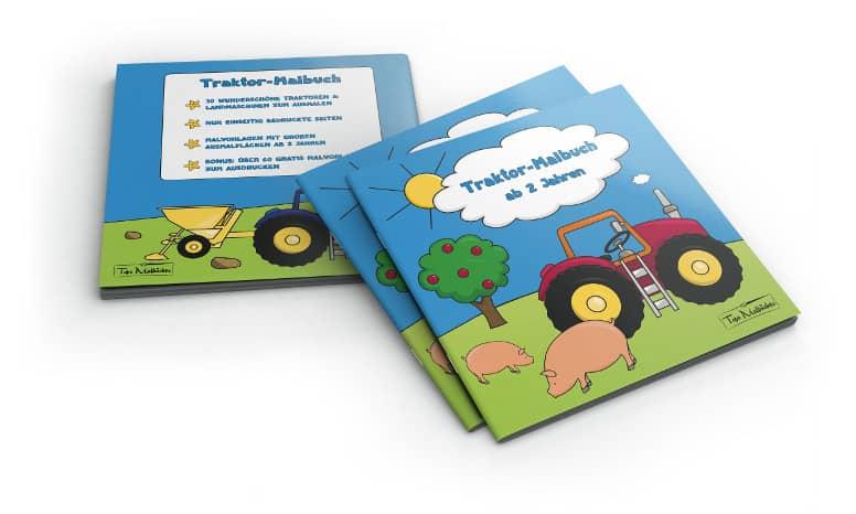Traktor Malbuch für Kinder ab 2 Jahren Cover mit Rücken