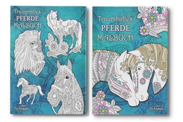 Traumhaftes Pferde Malbuch für Erwachsene und Kinder Cover mit Rücken